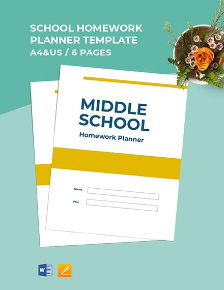 middle School homework Planner