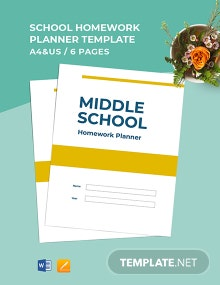 Middle School Homework Planner Template