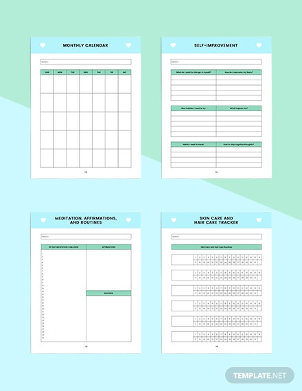 Monthly self care Planner Editable