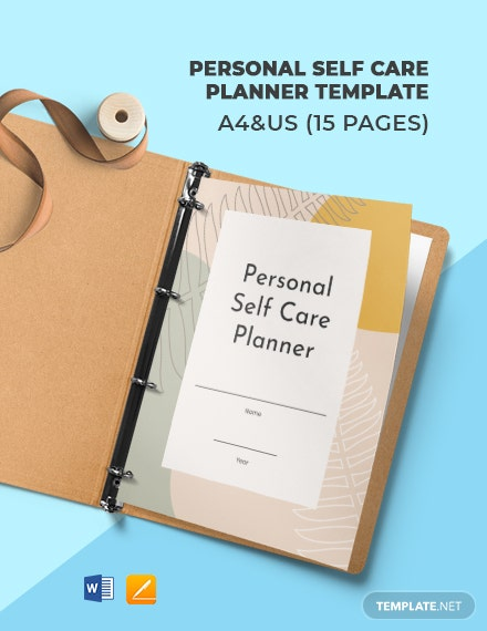 Personal Self Care Planner Template