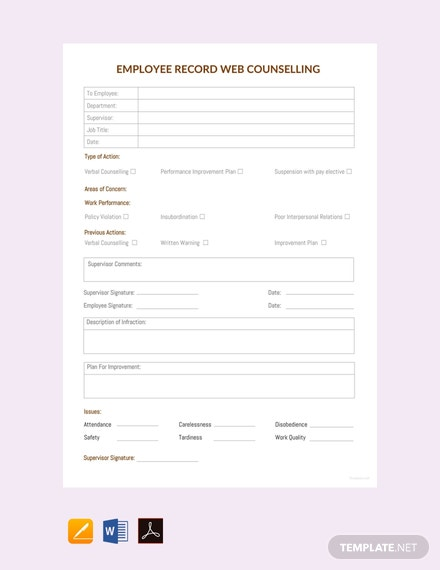 Free Employee Record Web Counselling Template