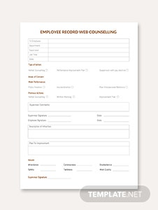 Employee Record Web Counselling Template