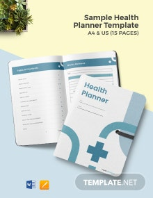 Free Sample Health Planner Template