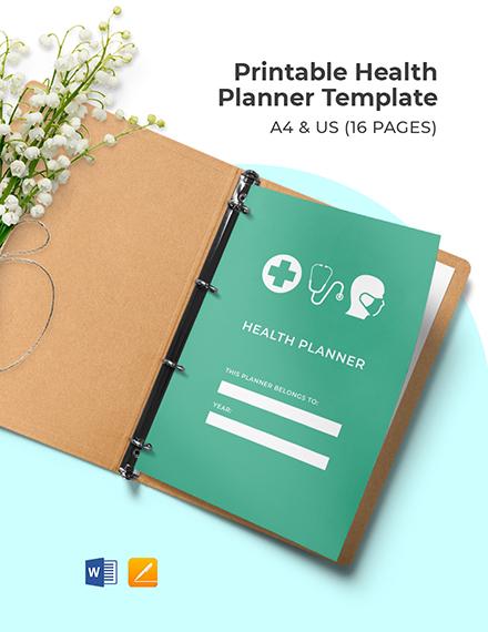 Free Printable Health Planner Template