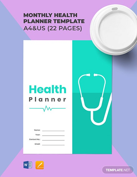 Monthly Health Planner Template [Free Pages] - Word, Apple Pages