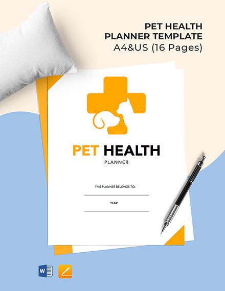 Pet Health Planner Template