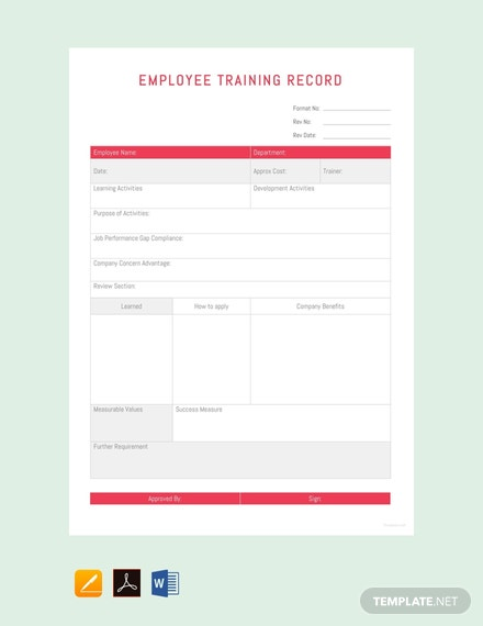 Free-Employee-Training-Record-Template-440x570-1 Job Order Format Excel on game tables, apply accounting number, date time, csv file, modern look,
