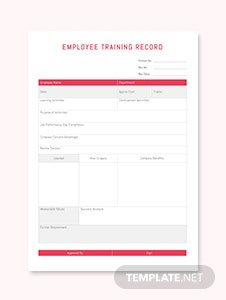 Employee Training Record Template