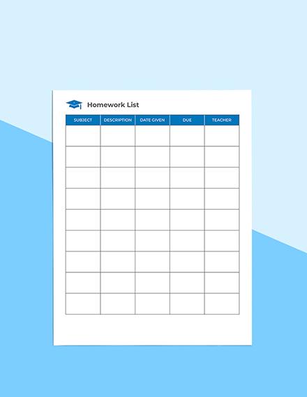 School Homework Planner Sample