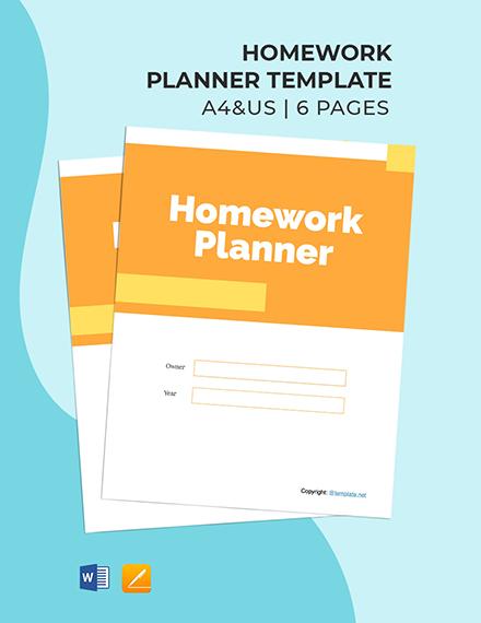 Free Printable Homework Planner Template