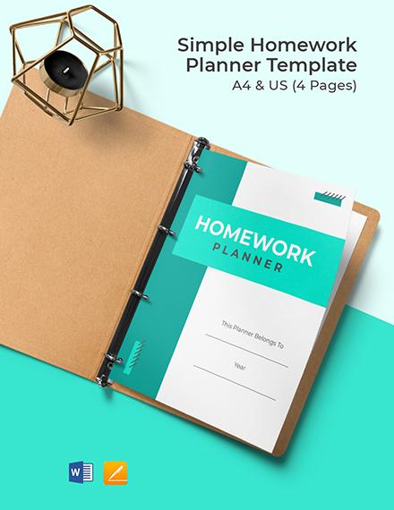 Free Sample Homework Planner Template
