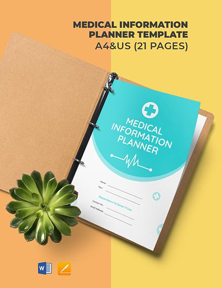 Medical Information Planner Template