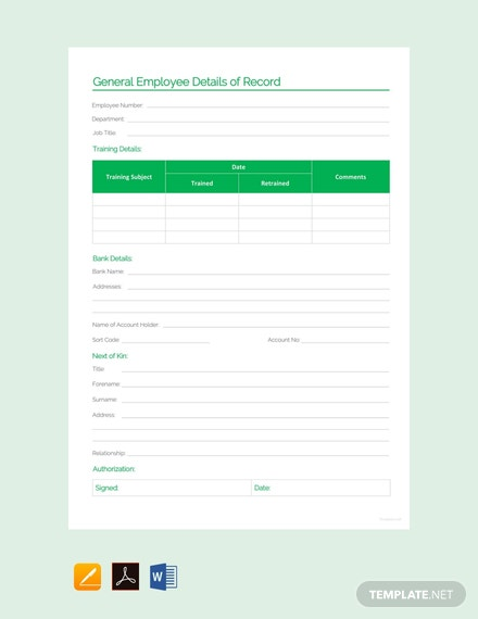 Free General Employee Details of Record Template