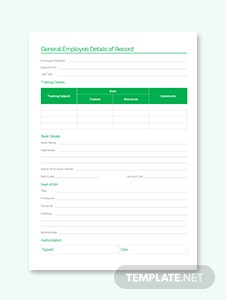 General Employee Details of Record Template