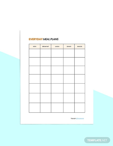 Sample Food Planner Template Example