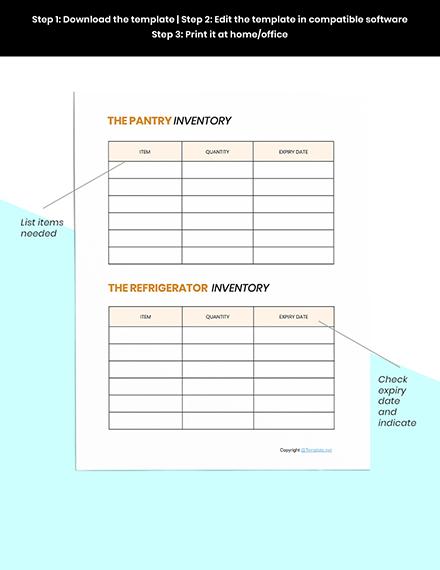 Sample Food Planner Template Instruction