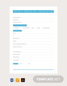 Free Individual Absence and Lateness Record Template