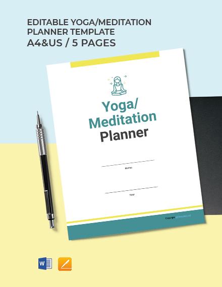 Free Editable Yoga Meditation Planner Template