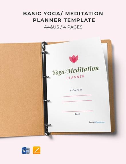 Free Basic Yoga Meditation Planner Template