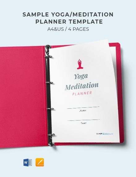 Free Sample Yoga Meditation Planner Template