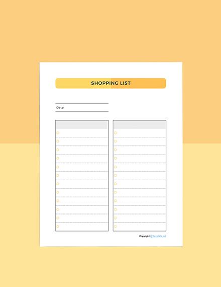 Basic Food Planner template