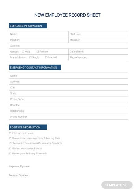 New Employee Record Sheet Template