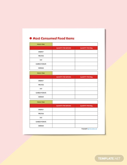 Basic Diet Planner Template