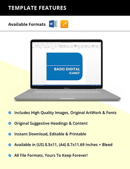 Basic Digital Planner Template Format