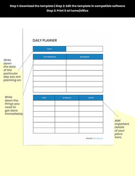 Basic Digital Planner Template instruction