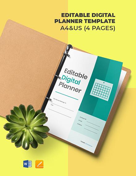 Free Editable Digital Planner Template