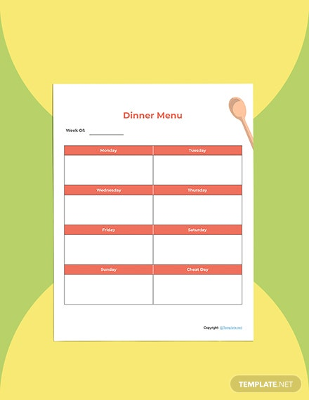 Editable Food Planner template Format