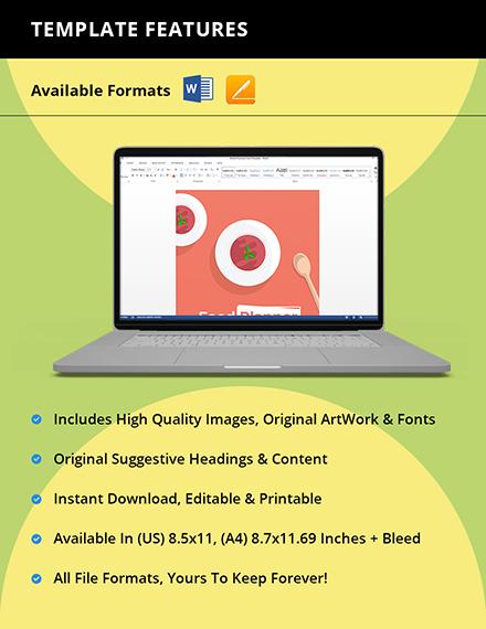 Editable Food Planner template Instruction