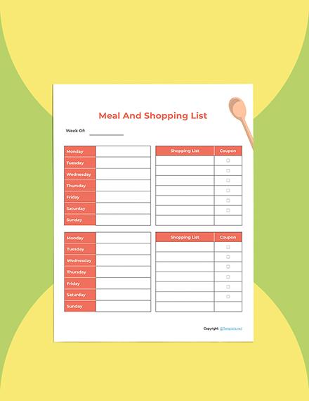 Editable Food Planner template Sample