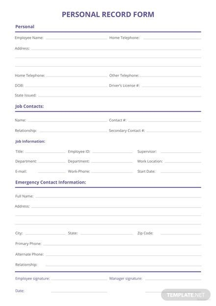 Free Personnel Record Form Template