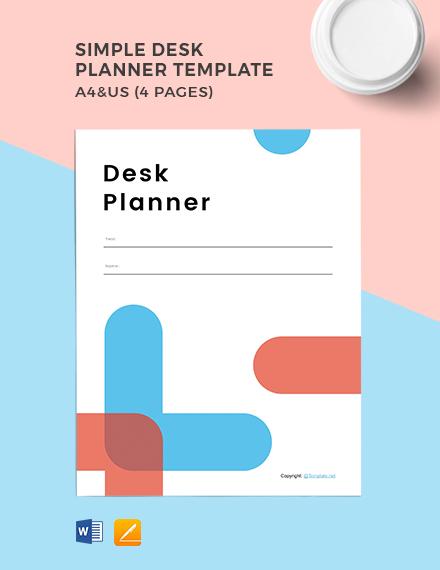 Free Simple Desk Planner Template