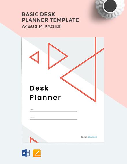 Free Basic Desk Planner Template
