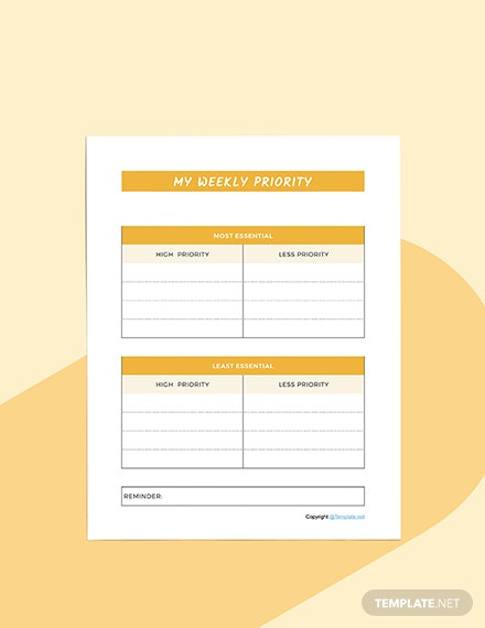 Sample Schedule planner Format