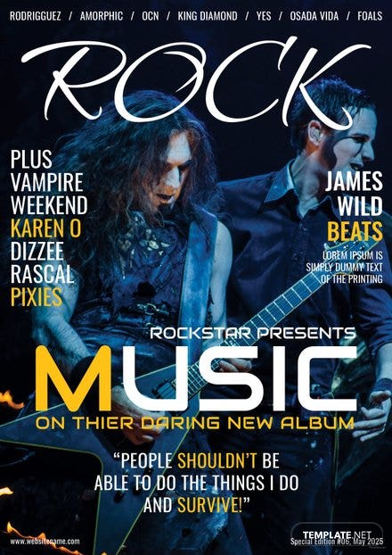 Rock Music Magazine Cover Template