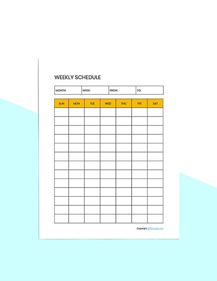 Editable Schedule planner template Download