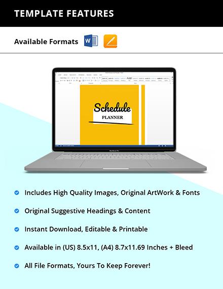 Editable Schedule planner template Editable