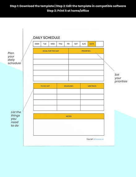Editable Schedule planner template Example