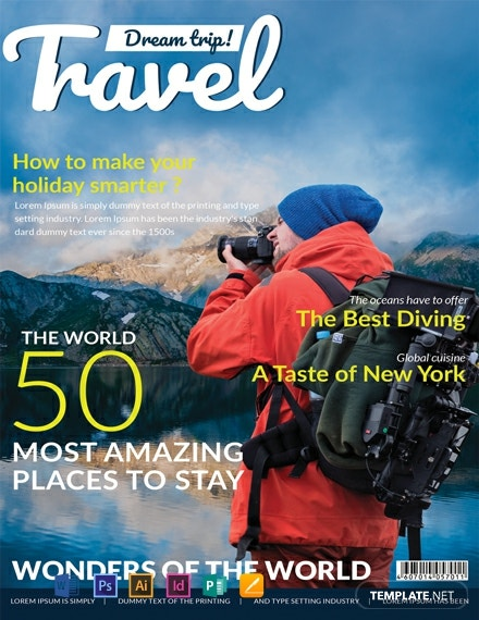 Free Modern Travel Magazine Cover Template