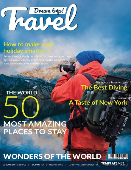 Modern Travel Magazine Cover Template