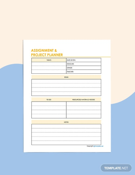 Sample Education Planner Format
