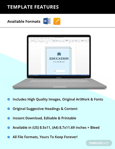 Editable Education Planner Template Instruction