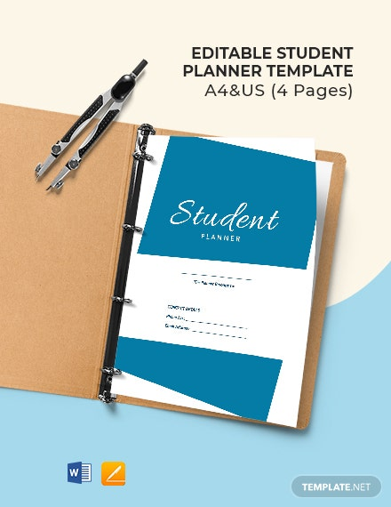 Free Editable Student Planner Template
