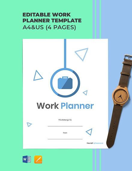 Free Editable Work Planner Template
