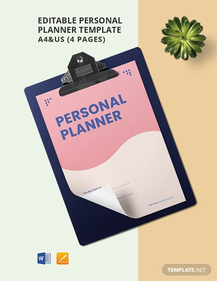 Free Editable Personal Planner Template