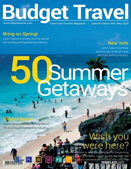 free travel magazine cover template  download 48