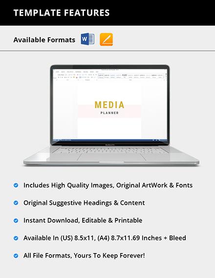 Editable Media Planner Format